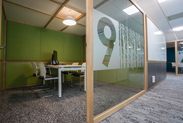Acoustic office pods with french oak frames - Acoustic Hubs