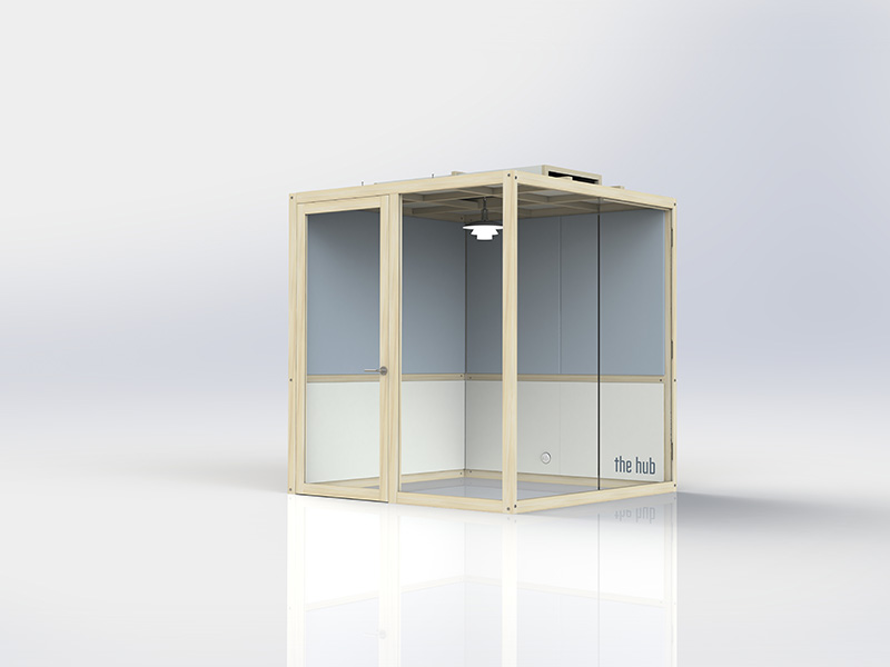 Acoustic pods with internal and external quiet work space areas